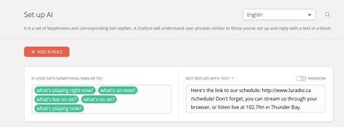 AI Set up for CILU bot on Chatfuel