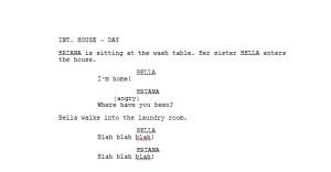 cut scene written with Final Draft
