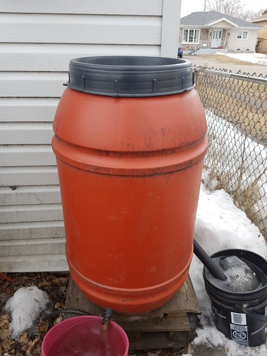 frozen rain barrel