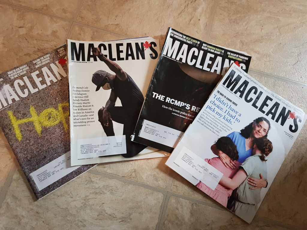 picture of four Maclean's magazines